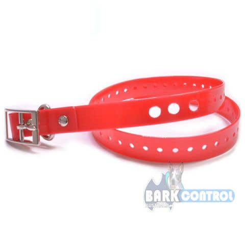"Bark Control 3-Hole 3/4"" Collar Strap Vinyl - Red"
