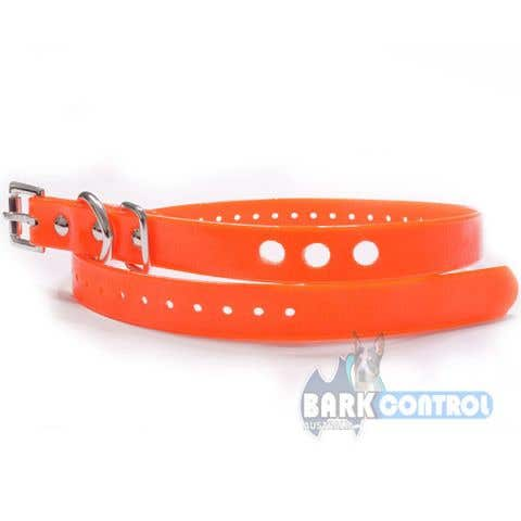 "Bark Control 3-Hole 3/4"" Collar Strap - Vinyl Orange"