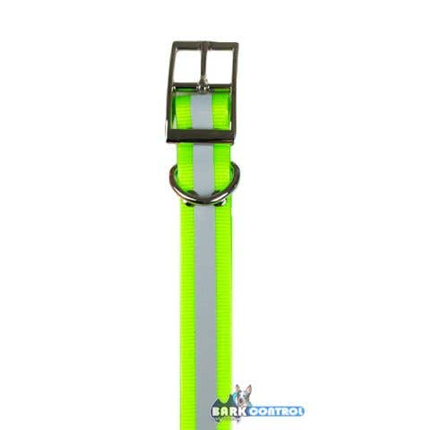 Bark Control Heavy Duty 1-inch Collar Strap - Green Reflective